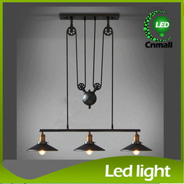 Wholesale Vintage Iron RH Loft Industrial Pendant Lamp American Country Pulley Pendant Lights Adjustable Wire Lamps Retractable Bar Lighting Mirror