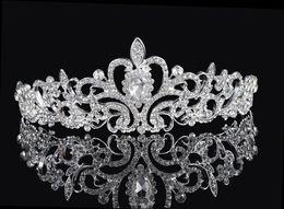 Wholesale Shining Beaded Crystals Wedding Crowns Bridal Crystal Veil Tiara Crown Headband Hair Accessories Party Wedding Tiara