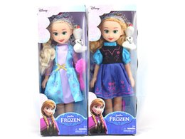 Purple Frozen Dolls Classic Toys Frozen Princess Anna & Princess Elsa with snow man olaf Doll Toy 14 inch Frozen