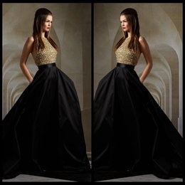 Sexy Gold Top Bodice Sequin and Black Skirt Evening Dresses 2016 Halter Backless Formal Evening Gowns Hi-Lo Train Elie Saab Prom Dresses