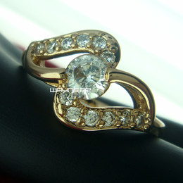r242-Size 7.5 Woman's Cute White Sapphire 18K Yellow Gold Filled Ring Gift
