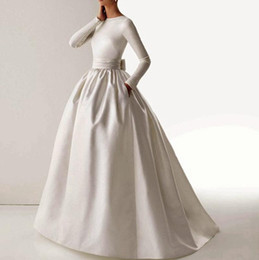 Wholesale Hot New Vintage Elegant Boat Neck Long Sleeve Sash Bow Pockets Ball Gown Long White Muslim A Line Wedding Dresses Vestido