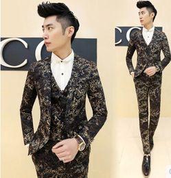 Wholesale-Mens Floral Blazer New Arrival Gold Blazer For Men Vintge Men Suits Club Party Wedding Baroque Men Blazer Masculino Mens