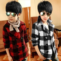 Wholesale-New 2015 Auturn Winter Brand Fashion Plaid Single Button Woolen Coat Boys Plaid Long Winter Coat Thick Outerwear Wool Blends