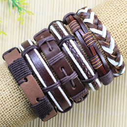 High quality Handmade Mens and Women Bracelets Wrap Multilayer Genuine Leather Bracelet with Braided Rope Fashion Jewelry -TD104