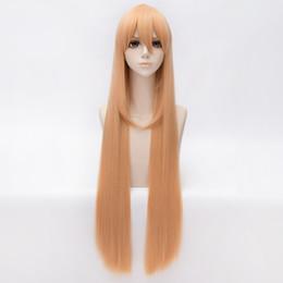 WK 2016 Himouto! 100cm Long Straight Mixed Milk And Orange Himouto! Umaru-chan Umaru Doma Cosplay Wig Synthetic Hair Wigs