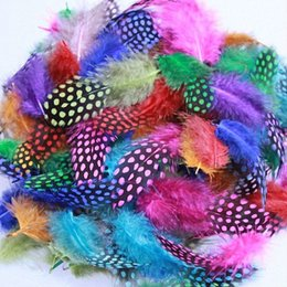 500Pcs Lot 5-12CM Guinea Fowl Spotted Feathers Mixed Color Craft Feather FREESHIPPING wholesale