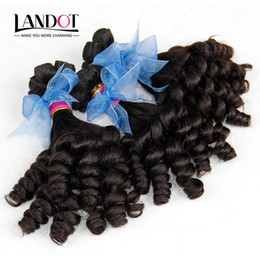 Grade 8A Unprocessed Raw Indian Aunty Funmi Curly Virgin Human Hair Weaves Bundles Romance Sprial Bouncy Egg Curls Natural Color Can Bleach