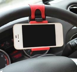 Acheter en ligne Volant pour les vélos-Universal Car Streeling Support de berceau de volant SMART Clip Support de vélo de voiture pour mobile iphone samsung Téléphone portable GPS + Retail boîte US04