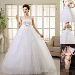 Pretty Pregnant Wedding Dresses Women Married Strapless A-Line Dresses Lace-up Floor-Length Plus Size Bride Maternity Wedding New