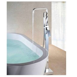 Wholesale And Retail Details about NEW Floor Mounted Free Standing Chrome Bathtub Mixer Tap Faucet W Hand Shower