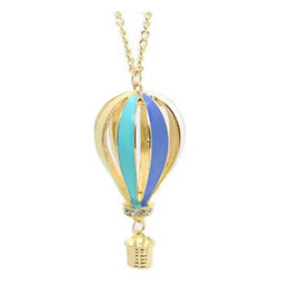 Wholesale Big Discount New Fashion Women Colorful Jewelry Aureate Drip Hot Air Balloon Pendant Long Necklace Valentine gift