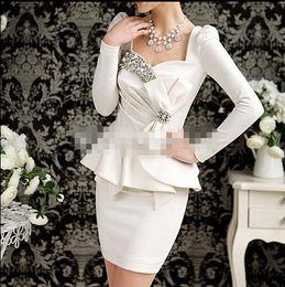 Wholesale 2015 Beautiful Pageant Interview Dress Suit Peplum Rhinestone Bow Sweetheart neck