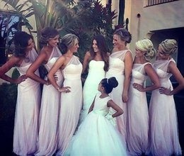 Modest White One Shoulder Sheer Strap Bridesmaid Dresses Long Tulle Floor Length Illusion Back 2014 Bridal Maids of Honor Dress Party Gowns