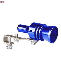 Wholesale Universal Car Turbo Sound Whistle Exhaust Muffler Pipe Aluminum Blow off Vale BOV Simulator Whistler Silencer Size XL Blue SV004859