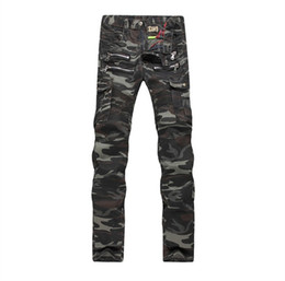 2016 new troops tight jeans pocket camouflage splicing men jeans pants of outdoor camping in the us and Europe