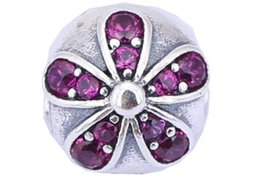 New 925 Sterling Silver Charms Ale Rhinestone Floral Charms for Pandora Bracelets Flower DIY Beads Accessories