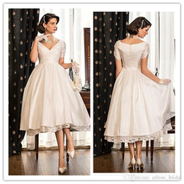 2015 Short Wedding Dresses A Line V Neck Short Sleeve Satin and Lace Tea Length Tiered Formal Bridal Gowns