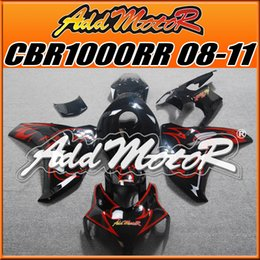 Wholesale Addmotor Injection Mold Aftermarket Fairings Fit Honda CBR1000RR CBR RR Body Kit Black Red Flames H18106 Five Free Gifts