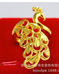 yellow gold carved peacock men women ring all size (88)