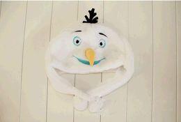 Wholesale CONGELADO Olaf niños sombrero gorras muñeco de nieve Cartoon animal felpa invierno sombrero cómodo Elsa Anna Niños Gorras Sombreros Gorra Olaf
