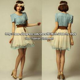 DS38 Celebrity Style Plus Size Women Denim Mesh Patchwork Cascading Ruffles Summer Dress Ladies Chiffon Dress 2014 Free Shipping