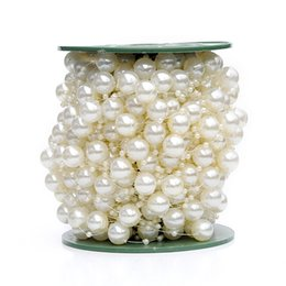 Wholesale 30m Party Wedding mm mm Beads Chain Strand Faux Pearls Garland Spool Feast Table Centerpiece Bride Bouquet Decoration wa078