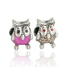 Wholesale authentic sterling silver wisdom owl charm beads fit European charms bracelets pandora style jewelry No80 X350