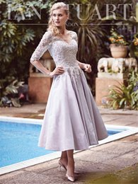 Wholesale 2015 BEVERLY HILLS Collection Mother Dresses Half Sleeve Lace Applique Flowers Beads Ankle Length Party Dress Custom Made Evening Dress