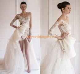Hi Lo Wedding Dresses Long Sleeve Sheer Bridal Gown Appliques Sexy Mini Length Court Train Tulle Chiffon Illusion Neckline Wedding Dress
