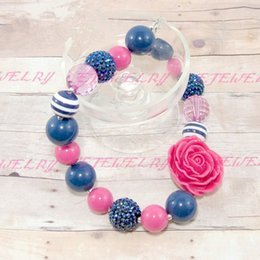 Chunky ..Childrens ..Navy and Hot Pink Necklace..Photo Prop..Birthday..Toddler Necklace..Kids Necklace CB139