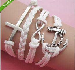 Charm bangle bracelets for Women Men Indian Fashion Handmade Jewelry Statment Leather Bracelet Pulseras Cross Love Wrap Infinity Bracelets