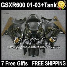 7gifts+Gold flames Tank For SUZUKI GSXR600 01 02 03 GSX R600 K1 01-03 4G380 GSX-R600 GSXR-600 Golden black GSXR 600 2001 2002 2003 Fairings