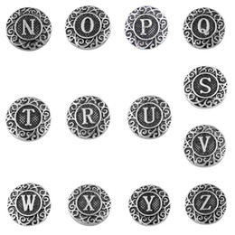 Wholesale Engraved Initial letter N to Z noosa snaps Antique silver flowers pattern china mm snap buttons jewelry K85600