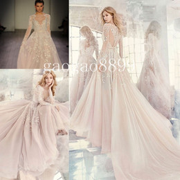 Wholesale Lace Feather Sash - Hayley Paige Fall 2016 Embroidered Organza Wedding Dresses Amethyst Long Sleeve Rococo Luxury Beaded Embroidery Cheap Bridal Gown