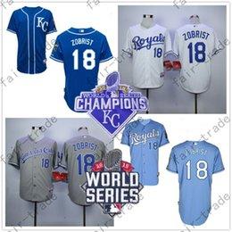 Wholesale Ben Zobrist Jersey Workd Series Kansas City Royals Jerseys KC Baby Blue White Grey