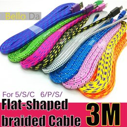 Wholesale M10FT Flat shaped Nylon Fabric Braid Cable charging USB colourful woven wire For5G S