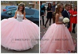 Wholesale Sweetheart Princess Quinceanera Dresses Baby Pink Ball Gown Tulle Sweet Quinceanera Dresses Beaded Crystals Spring Summer New