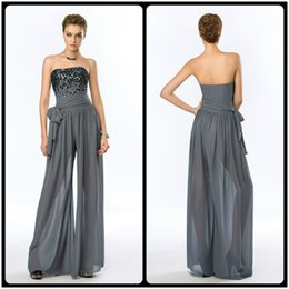 Wholesale 2016 New Strapless Gray Chiffon Jump Suit Women Evening Dresses Wear With Black Beads Formal Outfits Custom Made