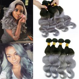 Best Selling!! Silver Grey Ombre Human Hair Extensions ombre gray Brazilian virgin hair body wave 2 tone ombre grey Peruvian remy hair weave