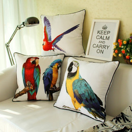 Wholesale American Style Vintage Retro Peach Skin Fabric Parrot Bird Painting Back Cushion Cover Colorful Pillow Case for Chair Seat Car