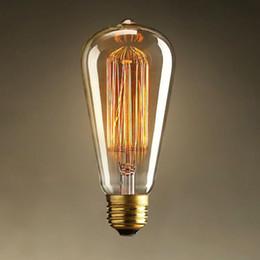 Wholesale Edison Vintage Antique Tungsten Filament ST64 V W E27 Light Ceiling Lamp Bulb Lighting Reproduction Droplight Incandescent