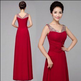 Dreamlike V-neck A-line Chiffon Evening Gowns in Dark Red with Delicate Beaded Sash Backless Floor-length New Arrival Prom Dresses