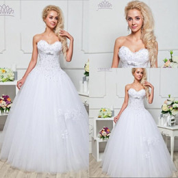 Top Quality Ball Gown Sweetheart Lace Wedding Dress Floor Length White Tulle Beaded Free Shipping Cheap Vintages Style Bridal Gowns