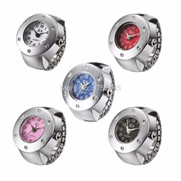 Wholesale-Creative Fashion Ladies Watch Quartz Finger Ring Inlaid Rhinestone Circular Dial Pattern Ring Watch Women