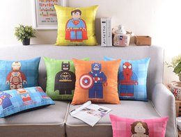 America Super Hero Pillow Cushion Cover Superman Ironman Spider Man Pillow Case Sofa Couch Cushions Covers Gift For Baby Kids