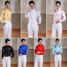 Wholesale-Free shipping white black red blue  ruffles tuxedo shirts party wedding shirts