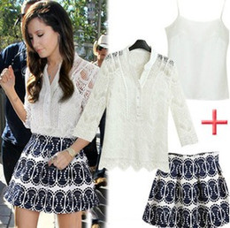 Wholesale New Lace Women Set Lace Hollow Out Shirt Tank Tops Skirt Big Children Nice Set Summer Fashion Outfits B3563