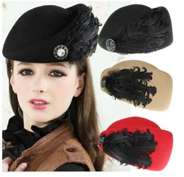 Fashion Vintage Autumn Winter Solid Real Wool Women Beret Feathers Cap Stewardess Small Fedora Hats 4 colors