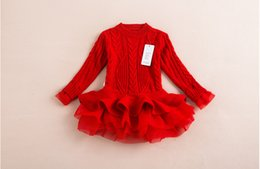4 colors Autumn Children Girls Long Sleeve Sweater Patch Tutu Organza Dresses Girl Princess Dressy Childs Clothing Out Wear High Quality